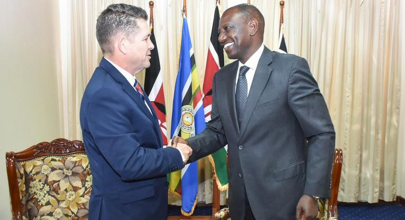 DP William Ruto with US Ambassador Kyle McCarter at the DP's Karen office (Twitter)