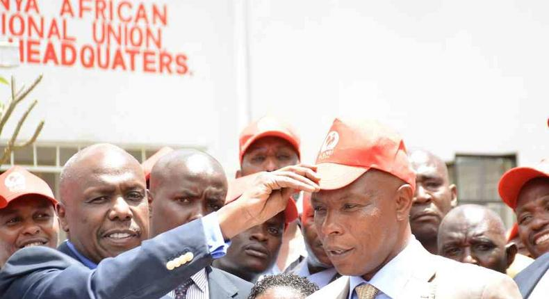 Kanu chairman Gideon Moi (Baringo Senator) and Laikipia senator aspirant Maina Njenga during a press conference at the party's headquarters after the latter's defection from Jubilee, March 22, 2017.