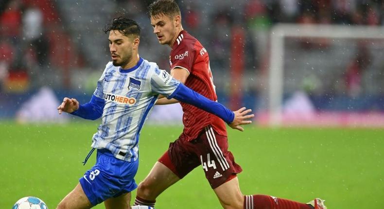 Suat Serdar (L) scored twice in Hertha Berlin's 3-1 win at Bochum Sunday Creator: CHRISTOF STACHE