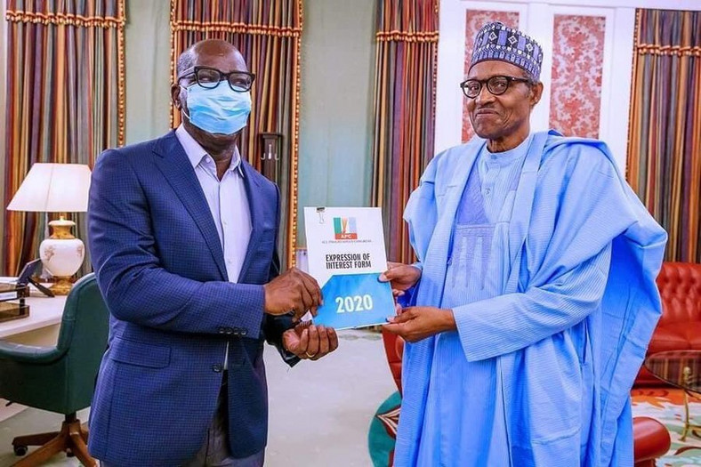 Obaseki pays President Buhari (Right) a visit on June 1 after picking his nomination form (Presidency)