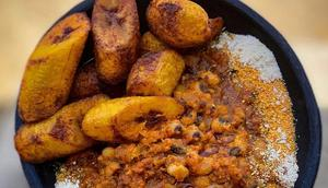 Gobe (Gari and beans)