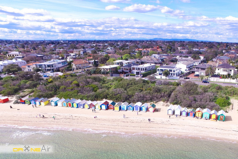 Bathing Boxes Brighton Beach, Melbourne, fot. DroneAir Australia