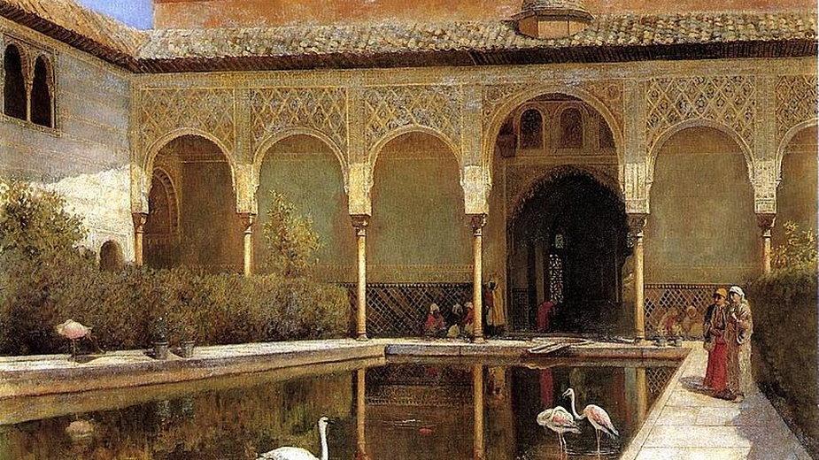 Dwór w Alhambrze w czasach Maurów, według wyobrażenia Edwina Lord Weeksa (1876) - domena publiczna