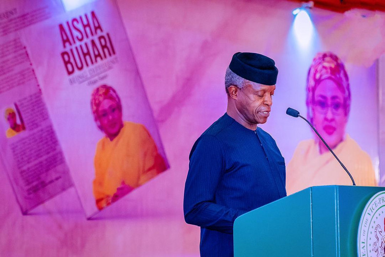 Osinbajo delivers eulogies at the launch of First Lady Aisha Buhari's book on Thursday, April 8, 2021 (Tolani Alli)