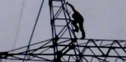 Oszalał! Bujał się na kablach wysokiego napięcia