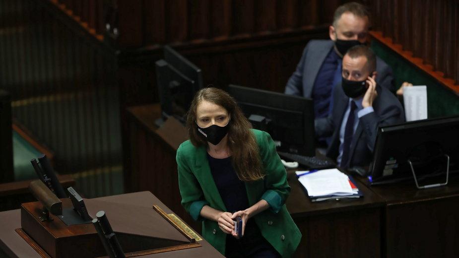 Agnieszka Dziemianowicz-Bąk na posiedzeniu w Sejmie