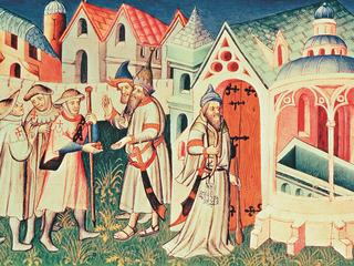 Ms Fr 2810 fol.274, Pilgrims in front of the Church of the Holy Sepulchre of Jerusalem, from 'Livre