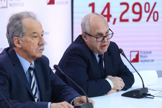 Przewodniczący PKW Wojciech Hermeliński oraz członek komisji - sędzia SN Wiesław Błuś podczas pierwszej konferencji prasowej.