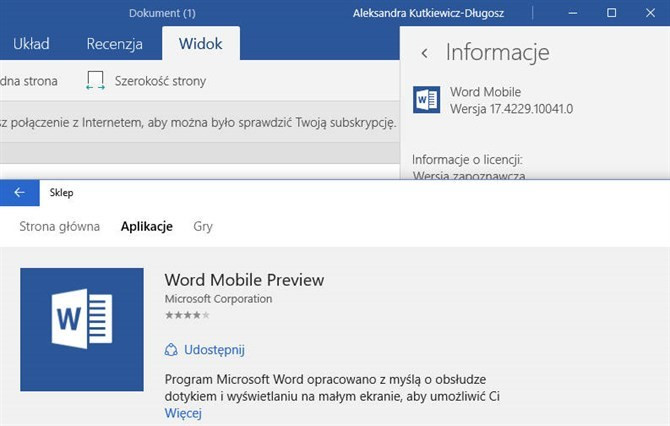 Word Mobile już bez dopisku Preview