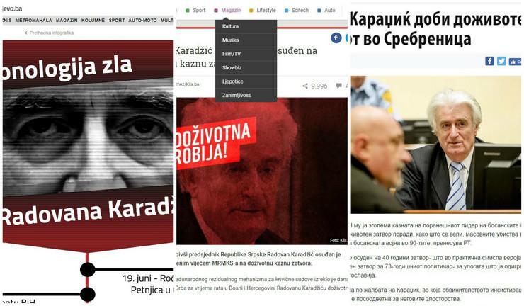 Kolaž radovan Karadžić mediji region