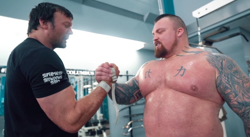 Watch Strongman Eddie Hall Train With Arm Wrestling World Champion Devon Larratt