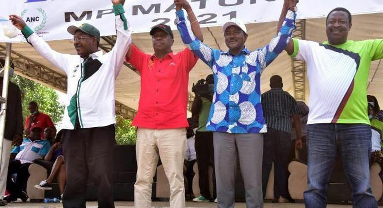 Kenyan Party Leaders, Moses Wetangula (Ford-Kenya), Gideon Moi (KANU), Kalonzo Musyoka (Wiper) and Musalia Mudavadi (ANC)