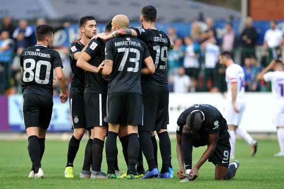 Fudbaleri Partizana na utakmici protiv Javora