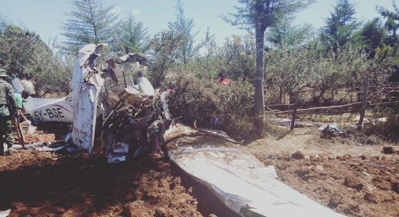 Site of the plane crash in Makutano Forest in Londiani, Kericho County