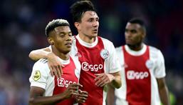 Easy does it: Ajax's David Neres and Steven Berghuis celebrate their fourth goal Creator: Olaf Kraak