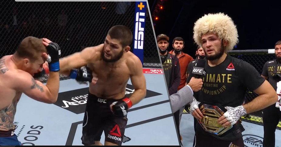 WIDEO: Khabib Nurmagomedov obronił tytuł na UFC 254! Justin Gaethje uduszony przez mistrza!