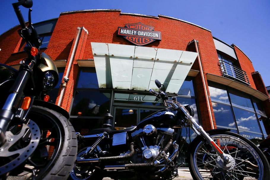 Harley Davidson motorcycles are displayed for sale at a showroom in London