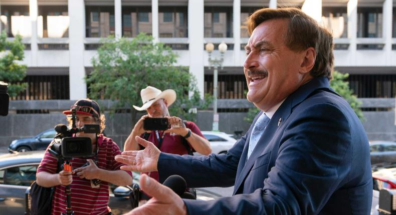 MyPillow chief executive Mike Lindell, speaks to reporters outside federal court in Washington, Thursday, June 24, 2021.