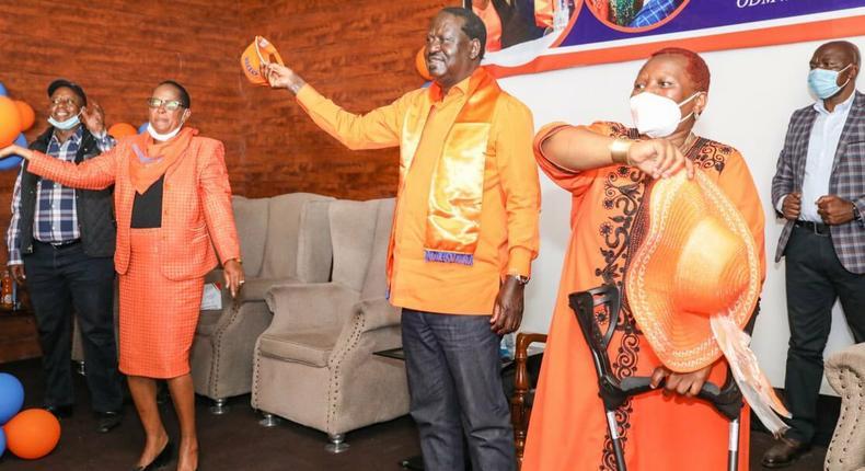 ODM party leader Raila Odinga during a meeting at Chungwa House