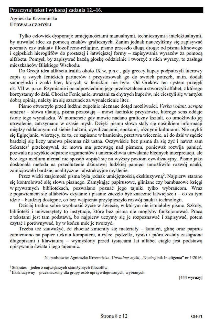 Egzamin gimnazjalny. Język polski. Zadania 12-15