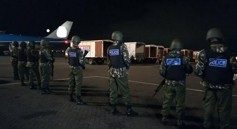 File image of Police monitoring cargo at JKIA