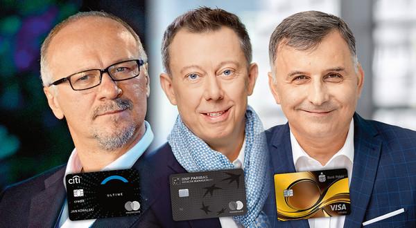 Ranking czarnych kart kredytowych. Od lewej: Sławomir Sikora - Citibank World EliteMastercard Ultime; Przemysław Gdański - Mastercard World Elite; Zbigniew Jagiełło - PKO Visa Infinite,