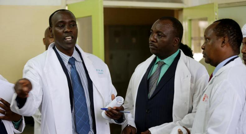 Nakuru assembly Majority Leader Stanley Karanja (L) with Speaker Joel Kairu (C). Karanja has resigned (twitter)