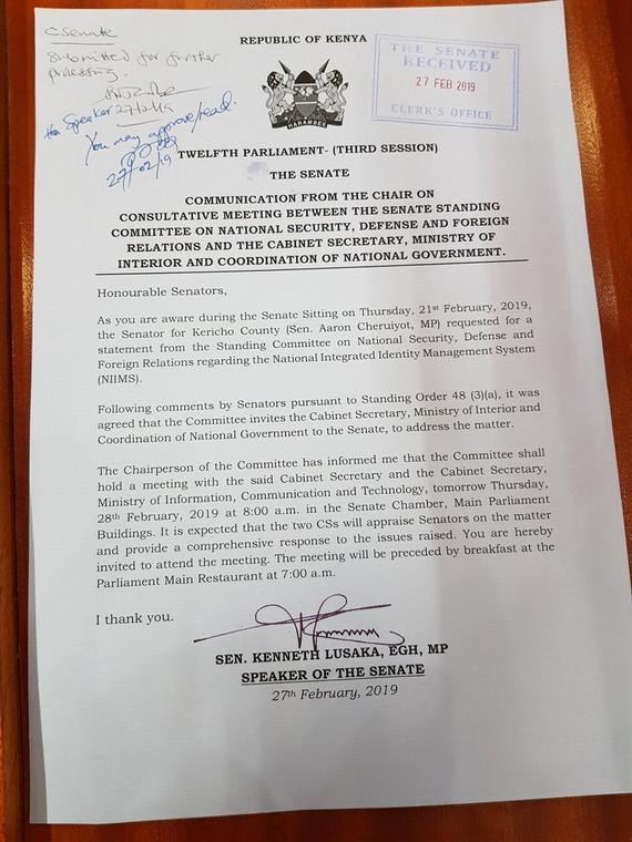 Letter of Approval from Senate Speaker Kenneth Lusaka (Twitter)