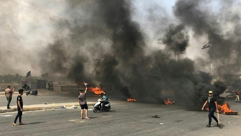 Protests erupt in Baghdad for a second straight day prompting security forces to fire live rounds in the air despite calls for restraint from President Barham Saleh