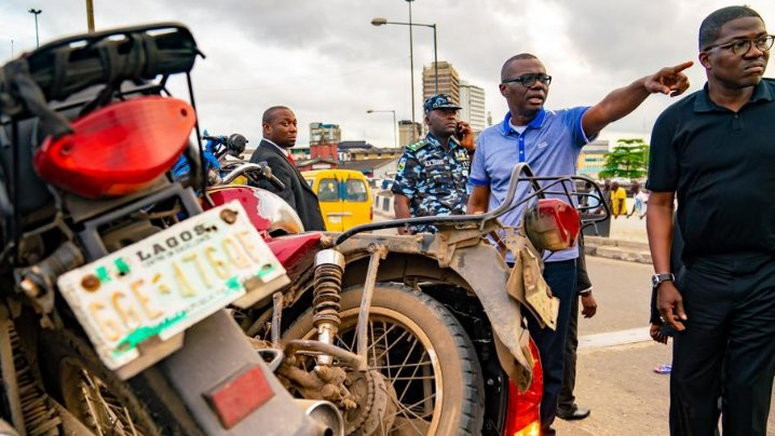 Lagos Gov Sanwo-Olu says commercial bikers endanger the lives of residents (Punch)