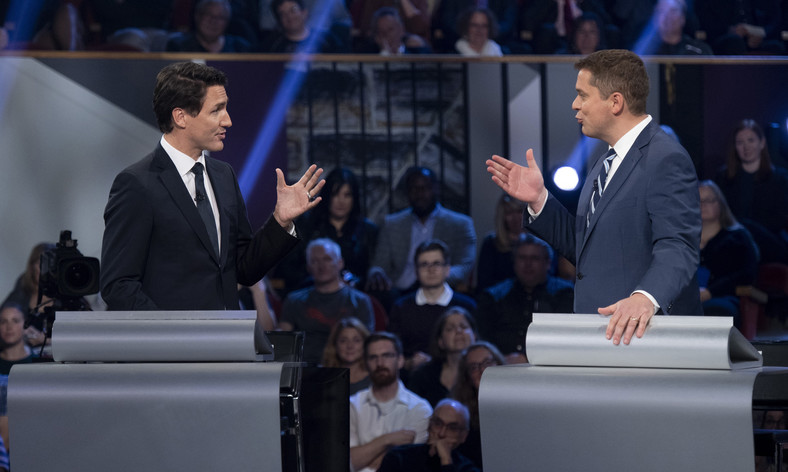 Trudeau and Scheer at the Federal Leaders Debate on Oct. 7, 2019 (Justin Tang/CP)