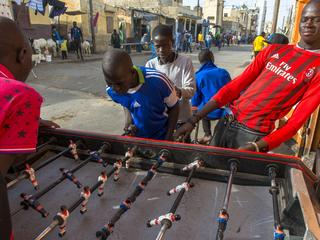 Saint Louis children playing table football