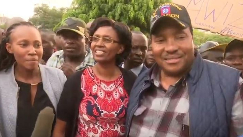 From right Kiambu Governor Ferdinand Waititu, his wife Susan Ndung'u and their daughter Dr Njeri Ndung'u after they were released from the EACC headquarters