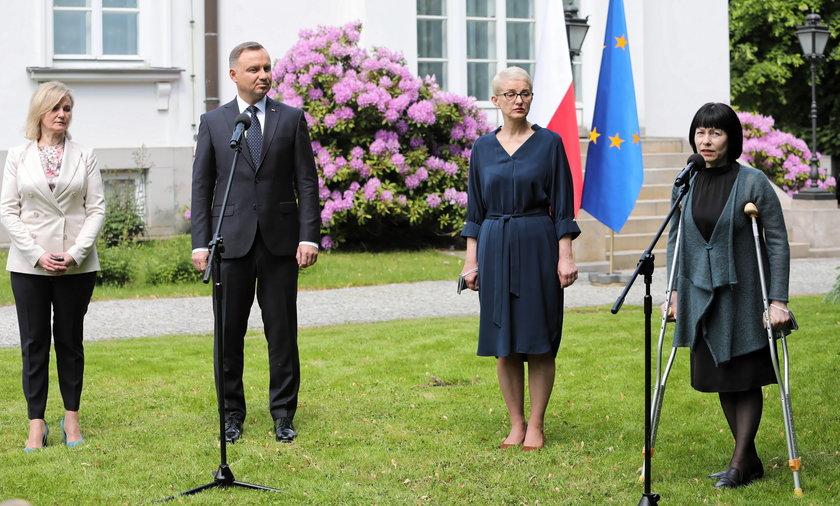 Prezydent Andrzej Duda na spotkaniu z liderami białoruskiej opozycji.
