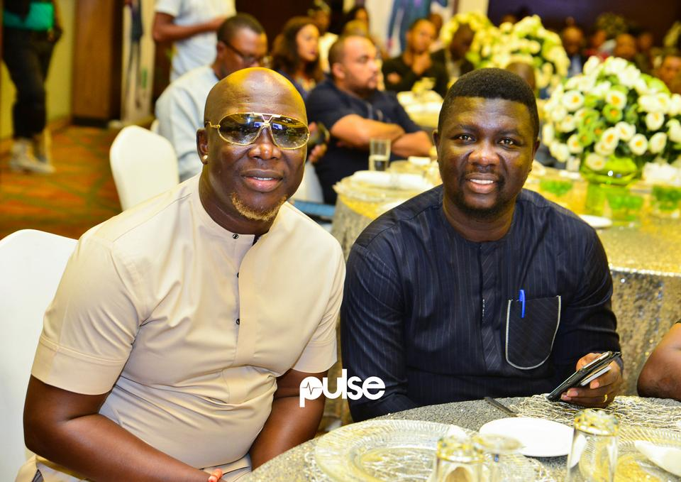 Gordons and Seyi Law at Glo unveil event which held at Eko hotel & suites, Victoria Island Lagos on Friday, February 1, 2019.