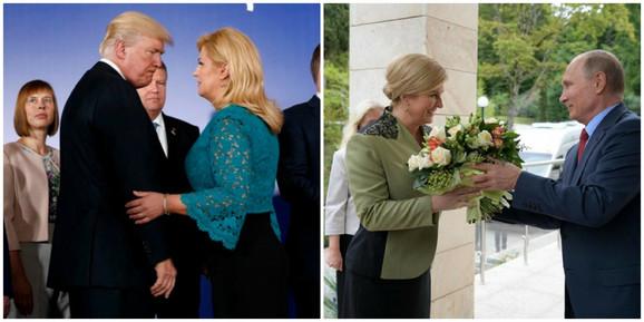 Kolinda Grabar Kitarović sa Trampom i sa Putinom