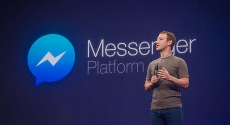 Mark Zuckerberg during the launch of the Messenger Platform used to build Messenger bots.