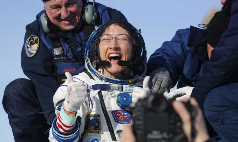hristina Koch shortly after returning from space: 'I am so overwhelmed and happy right now.' Photograph: Sergei Ilnitsky/AP