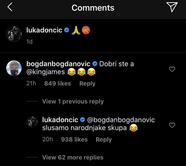 Bogdanovićev komentar na Dončićevu objavu