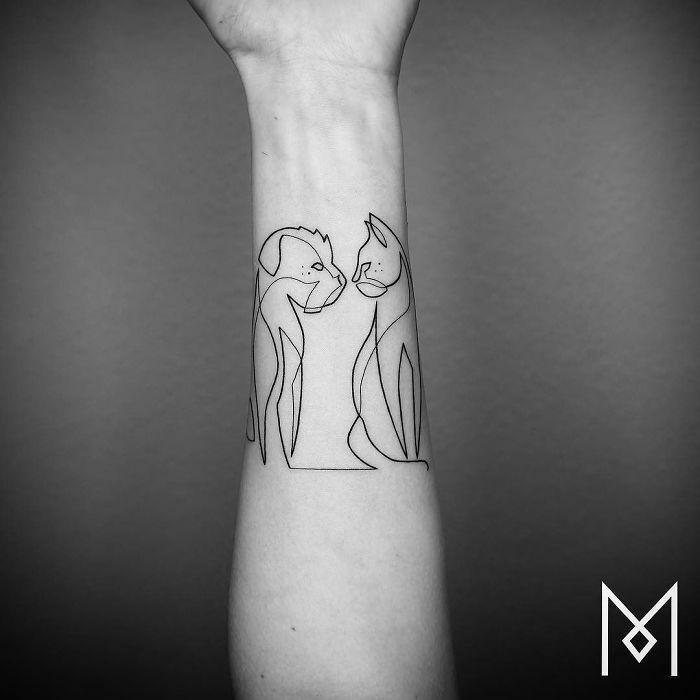Niesamowite Tatuaże Wykonane Jedną Linią Garść Inspiracji