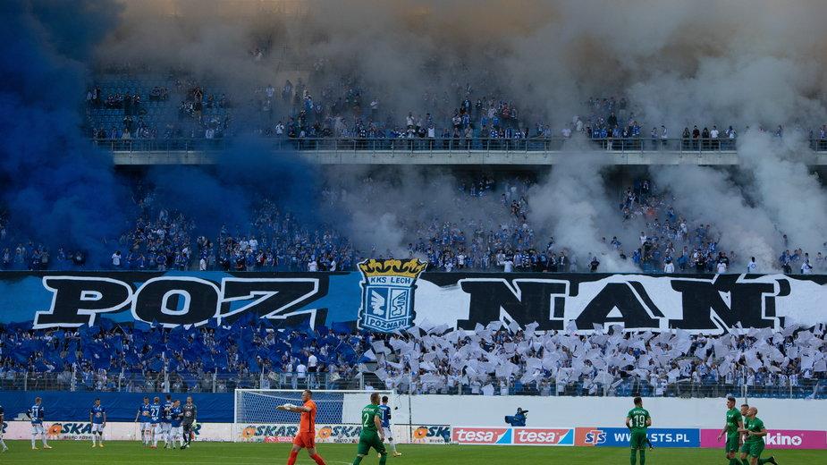 Oprawa na stadionie Lecha Poznań