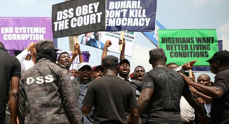 People demonstrate to demand the release of opposition activist Omoyele Sowore in November 2019 in Abuja