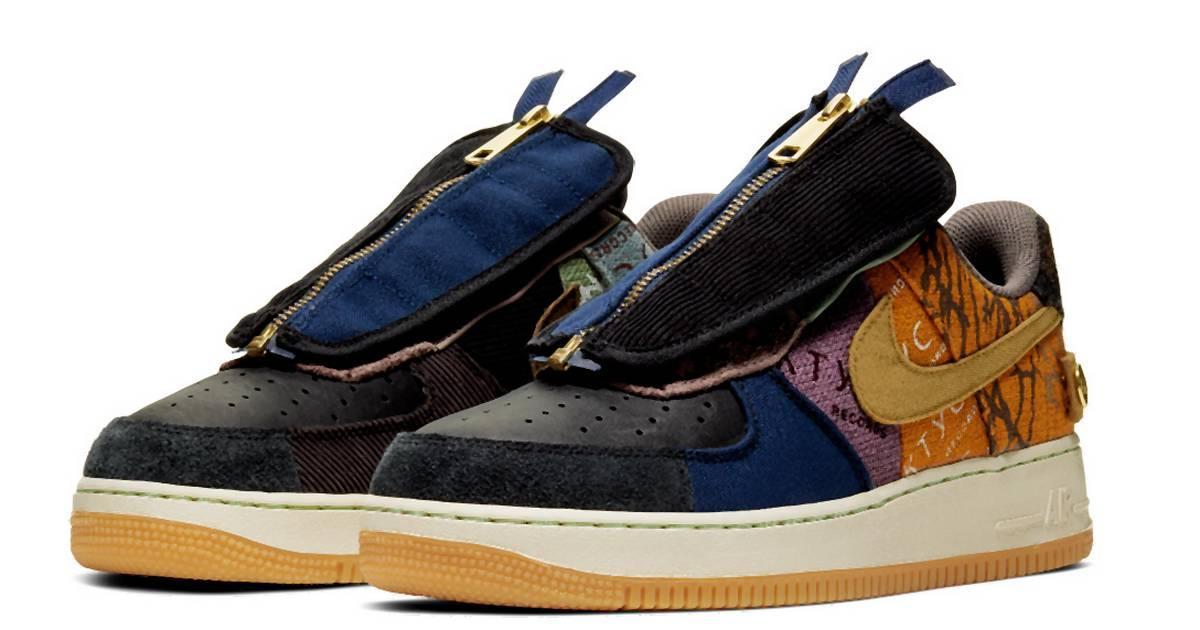 Travis Scotts Nike-Sneaker sind ein modischer Flickenteppich mit Schnürsenkeln