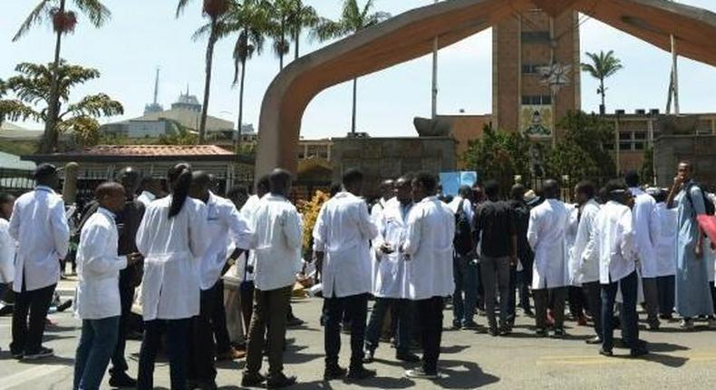 File image of doctors during a protest outside parliament buildings