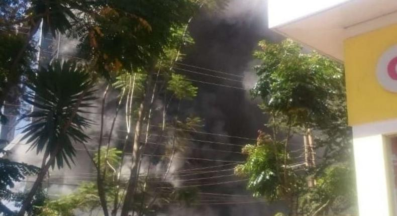 Promenade building located in Westlands along General Mathenge drive is on fire