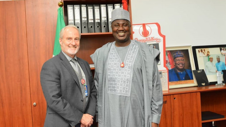 Deputy Chief Whip of the Senate, Senator Aliyu Sabi Abdullahi with the Political Officer of the Embassy of the United States of America, Jerry Howard, during a meeting with the Senator on the Hate Speech bill at the National Assembly on Tuesday, December 3, 2019