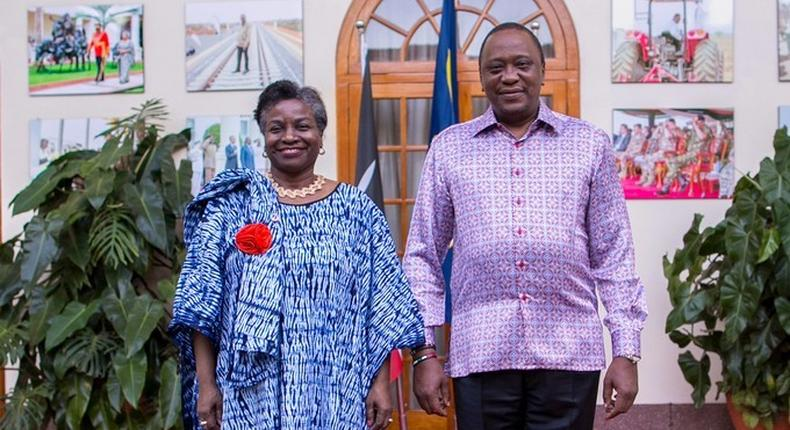 Kenyan President Uhuru Kenyatta hailed the strong partnership between his government and UNFPA during a meeting with UNFPA's Executive Director, Dr. Natalia Kanem in March 2019, which will jointly convene the ICPD 25 from 12 to 14 November 2019 along with the Government of Denmark. (PHOTO: PSCU)