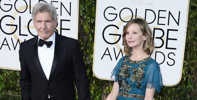 """""""Najbardziej kasowy"""" Harrison Ford i Callista Flockhart na gali Złotych Globów 2016"""
