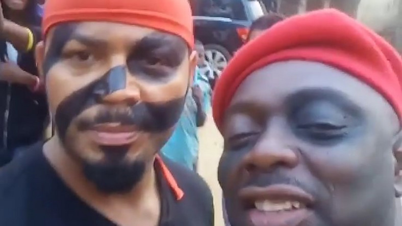 Ramsey Nouah and Segun Arinze on set of Imoh Umoren's new TV series