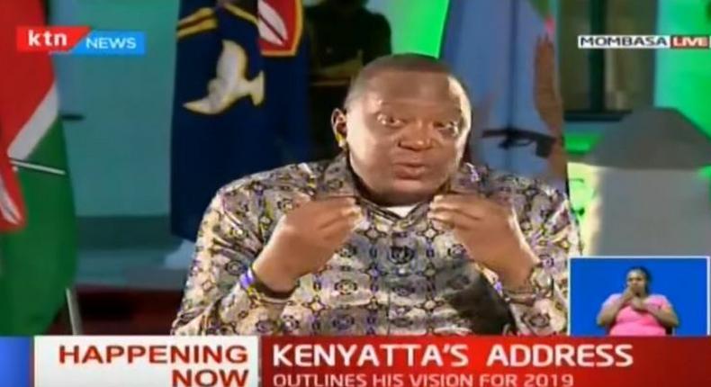 A screen grab of President Uhuru Kenyatta during yesterday's State of the Nation address